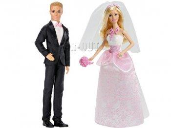バービー&ケン ウェディング 結婚式 Barbie & Ken ドール 人形 2点セット 輸入版 ブライド&グルーム ブロンドヘア 黒のタキシード (CFF37,DVP39)