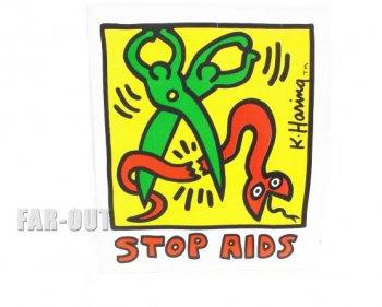 キース・ヘリング アート STOP AIDS ストップ エイズ ステッカー ポップショップ Keith Haring Pop Shop