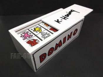 キース・ヘリング アート vilac ヴィラック ドミノ ゲーム ホワイト 木製 1992年版 Keith Haring