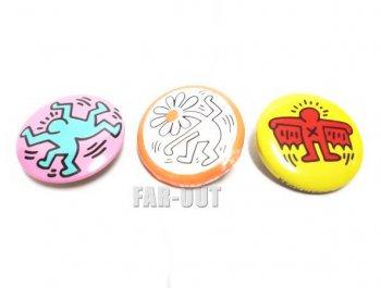 キース・ヘリング アート ミニ缶バッジ 3点セット ポップショップ Keith Haring Pop Shop