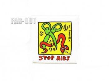 キース・ヘリング アート STOP AIDS ストップ エイズ 缶バッジ ポップショップ Keith Haring Pop Shop