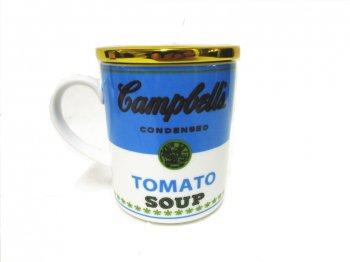 アンディ・ウォーホル キャンベルスープ アート マグカップ 蓋付き ブルー & ホワイト トマト フランフラン 青 白 コップ Francfranc Andy Warhol