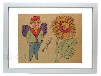 アンディ・ウォーホル プリポップ オリジナルアート 天使とひまわり サイン入り  Andy Warhol