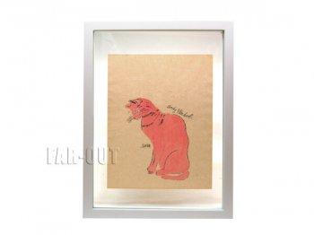 アンディ・ウォーホル プリポップ オリジナルアート サイン入り 猫 ネコのサム 側面 ピンクの彩色 Andy Warhol
