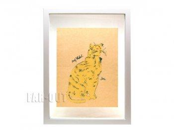 アンディ・ウォーホル プリポップ オリジナルアート サイン入り 猫 ネコのサム イエローの彩色 Andy Warhol