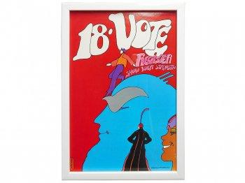 ピーター・マックス Vote 18 大統領選挙 オリジナルポスター 1972年 アート フレーム額入り ヴィンテージ Peter Max