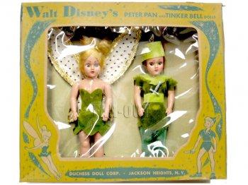 ピーターパン&ティンカー・ベル ヴィンテージ ドール 人形 2点セット 1960年代 ディズニー ティンカーベル