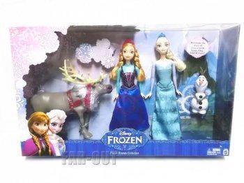 アナと雪の女王 アナ、エルサ、オラフ、スヴェン ドール 人形 4体入り デラックスセット マテル社 ディズニー