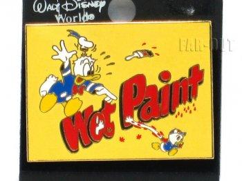 ドナルド Wet Paint ペンキ塗り立て ピンズ ディズニー