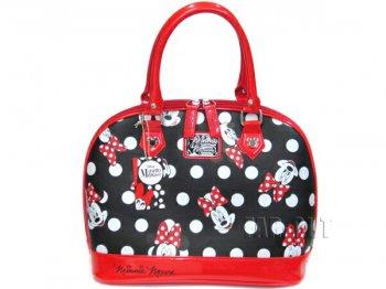 ミニーマウス ブラックベース・ポルカドット&フェイスプリント ラージバッグ Loungefly ラウンジフライ ディズニー 鞄