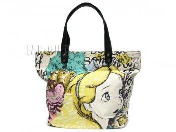 ふしぎの国のアリス アリス w/ チシャ猫 キャンバス トートバッグ スケッチ アート Loungefly ラウンジフライ 不思議の国のアリス ディズニー 鞄