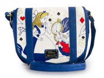 ふしぎの国のアリス アリス w/ ホワイトラビット 白うさぎ クロスボディ ショルダーバッグ エンボス Loungefly ラウンジフライ メッセンジャーバッグ 不思議の国のアリス ディズニー 鞄