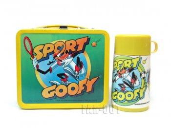 スポーツ グーフィー ブリキ TIN缶 ランチボックス 水筒付き ヴィンテージ ディズニー