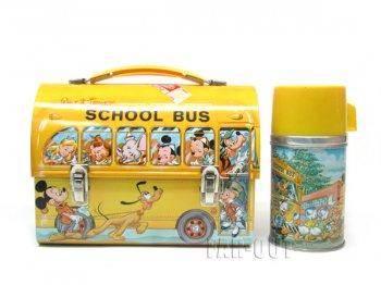 ディズニー スクールバス ブリキ TIN缶 ランチボックス 水筒付き ヴィンテージ