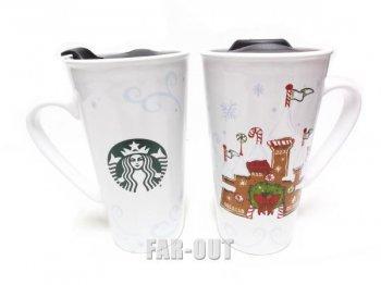 スターバックス コーヒー セラミック ハンドル付き タンブラー クリスマス ジンジャーブレッド シンデレラ城 ディズニーテーマパーク限定 Starbucks マグカップ