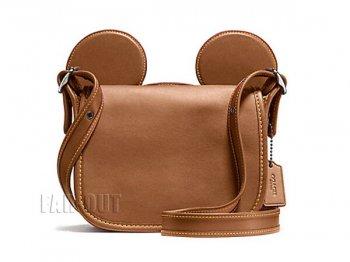 コーチ COACH ミッキー レザー 本革 ポシェット サドルバッグ キャメル ディズニー 鞄 F59369