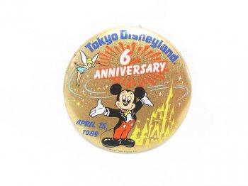 東京ディズニーランド 6周年記念 1989年 ミッキー 缶バッジ 缶バッチ TDL