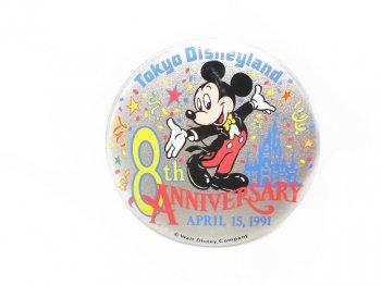 東京ディズニーランド 8周年記念 1991年 ミッキー 缶バッジ 缶バッチ TDL