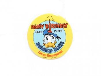 東京ディズニーランド ドナルド 生誕50周年記念 ハッピーバースデー 缶バッジ 1934-1984年 缶バッチ TDL Donald 50th Happy Birthday