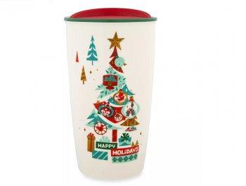 スターバックス コーヒー セラミック ダブルウォール タンブラー クリスマスツリー ディズニーテーマパーク限定 ドリンクカップ トラベルマグ スタバ Starbucks Happy Holidays