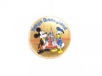 東京ディズニーランド 1周年記念 1984年 ミッキー&ドナルド 缶バッジ 缶バッチ TDL