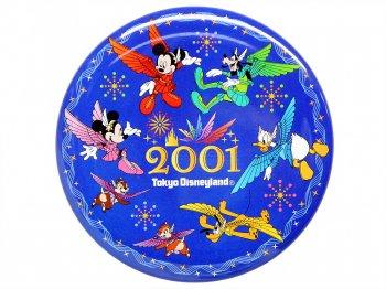 東京ディズニーランド ミレニアム 2001年 ミッキー&ミニー w/ドナルド、グーフィー、プルート、チップ&デール 缶バッジ TDL 缶バッチ