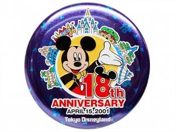 東京ディズニーランド 18周年記念 2001年 ミッキー w/アトラクション 缶バッジ TDL 缶バッチ