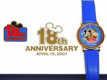 東京ディズニーランド 18周年記念 2001年 腕時計 ピンズ付き ミッキー ボックス入り TDL