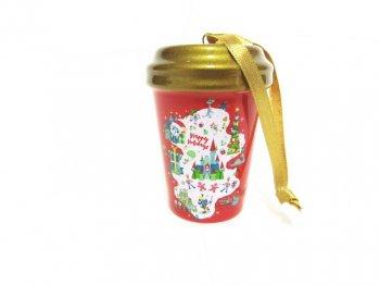 スターバックス コーヒー セラミック タンブラー オーナメント レッド クリスマス 2020年 アトラクションマップ ディズニーテーマパーク限定 スタバ 赤 金 Starbucks