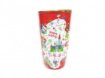 スターバックス コーヒー セラミック ダブルウォール タンブラー レッド クリスマス 2020年 ディズニーテーマパーク限定 ドリンクカップ トラベルマグ スタバ 赤 金 Starbucks
