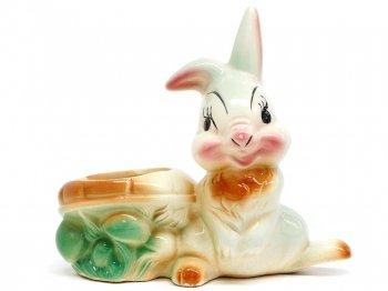 バンビ サンパー(とんすけ) プランター Leed社 1950年代 ヴィンテージ フィギュアリン ディズニー Bambi Thumper
