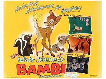 バンビ オリジナル ロビーカード 9枚セット 1975年 ヴィンテージ ディズニー アート Bambi Lobby Cards