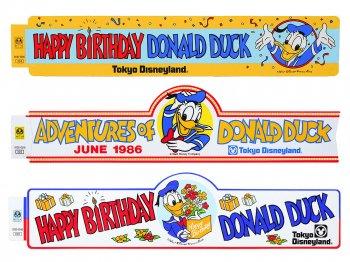 東京ディズニーランド ドナルド ハッピーバースデー 横長 ステッカー 3点セット 1980年代 TDL Sticker