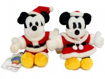 東京ディズニーランド ミッキー&ミニー サンタクロース ぬいぐるみ バッジ 2点セット クリスマス 2000年 TDL Mickey Minnie