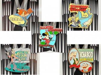 カウントダウン 2000年 ミレニアム記念 ピンズ 1940年代 5点セット ディズニーストア限定 、ファンタジア、リラクタント・ドラゴン、ファン・アンド・ファンシー・フリー、メロディ・タイム 他
