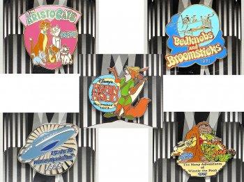 カウントダウン 2000年 ミレニアム記念 ピンズ 1970年代 5点セット ディズニーストア限定 おしゃれキャット、ベッドかざりとほうき、ロビン・フッド、星の国から来た仲間、くまのプーさん
