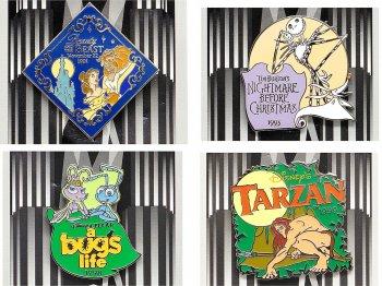 カウントダウン 2000年 ミレニアム記念 ピンズ 1990年代 4点セット ディズニーストア限定 美女と野獣、ナイトメアー・ビフォア・クリスマス、バグズライフ、ターザン