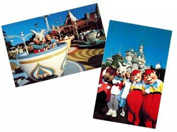 ふしぎの国のアリス ファンタジーランド ディズニーランド ポストカード 絵はがき 2点セット 1970年代 ヴィンテージ 不思議の国のアリス Alice in Fantasyland