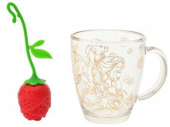美女と野獣 ガラスマグ&バラのつぼみ型 ティーインフューザー 茶こし セット Beauty and the Beast Mug and Tea Infuser