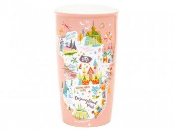 スターバックス コーヒー セラミック ダブルウォール タンブラー ピンク DL アトラクションマップ ディズニーランド限定 ドリンクカップ トラベルマグ Starbucks Disneyland