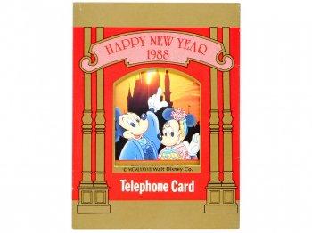 東京ディズニーランド ミッキー & ミニー テレホンカード 1988年 ハッピーニューイヤー スリーブ入り TDL Happy New Year