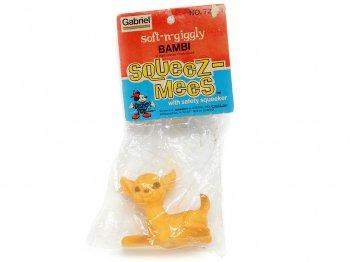 バンビ ソフトビニール スクイーズトイ ヴィンテージ ディズニー オリジナルヘッダー付き 1975年 Bambi Soft-n-giggly Squeez-Mees