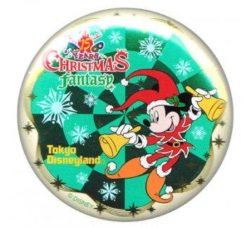 東京ディズニーランド 15周年 クリスマスファンタジー ミッキー 缶バッジ 缶バッチ TDL