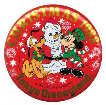 TDL クリスマス 1988年 ミッキー&プルート 缶バッジ 缶バッチ 東京ディズニーランド