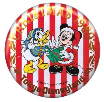 東京ディズニーランド クリスマス 1989年 ミッキー&ドナルド 缶バッジ 缶バッチ TDL