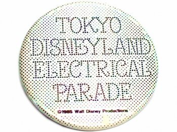 TDL エレクトリカルパレード オープン記念 1985年 タイトルロゴ ホワイト 缶バッジ 缶バッチ 東京ディズニーランド