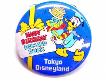 TDL ドナルド ハッピー バースデー 1986年 缶バッジ 缶バッチ 東京ディズニーランド