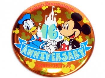 TDL 16周年記念 1999年 ミッキー&ドナルド 缶バッジ 缶バッチ 東京ディズニーランド