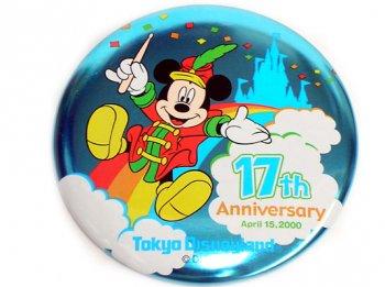 TDL 17周年記念 2000年 ミッキー 缶バッジ 缶バッチ 東京ディズニーランド