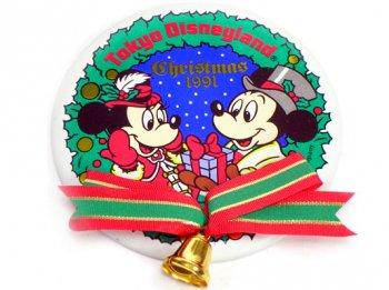 東京ディズニーランド クリスマス 1991年 ミッキー&ミニー 缶バッジ リボン付き 缶バッチ TDL